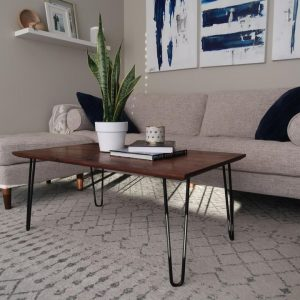 Single bevel walnut coffee table