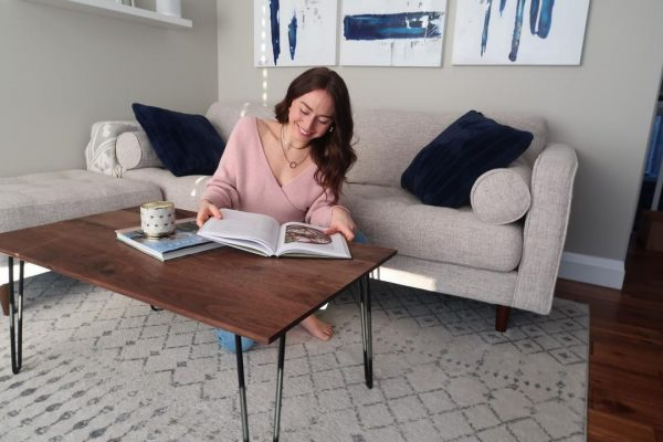 Single bevel walnut coffee table